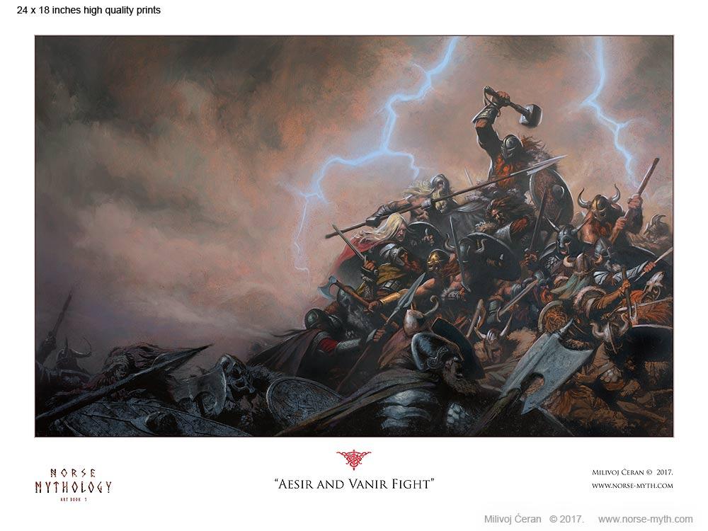 Norse-Mythology-print-006-Aesir-and-Vanir-Fight-24-x-18